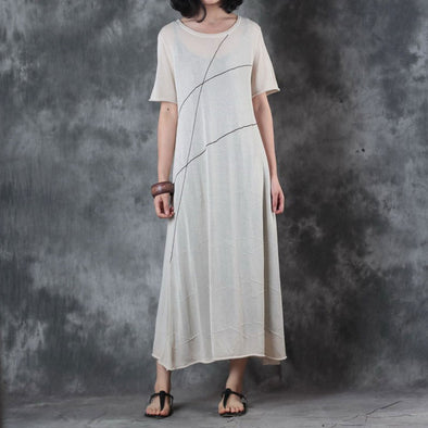 Round Neck Knitting Short Sleeve Flax Dress