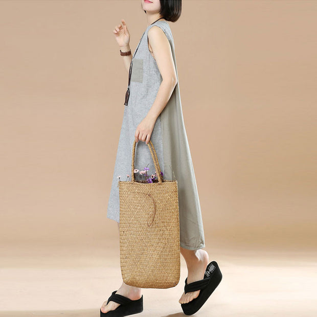 Splicing Stripe Women Loose Summer Cotton Linen Gray Sleeveless Dress - Buykud