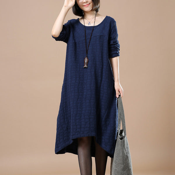 Blue Casual Loose Cotton Linen Long Sleeve