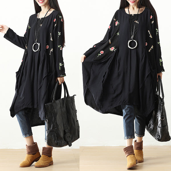 Side Slit Embroidery Pockets Pleated Retro Black Long Sleeve Dress - Buykud