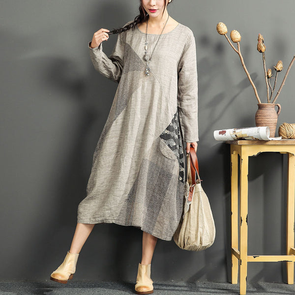 Round Neck Color Matching Linen Cotton Loose Dress