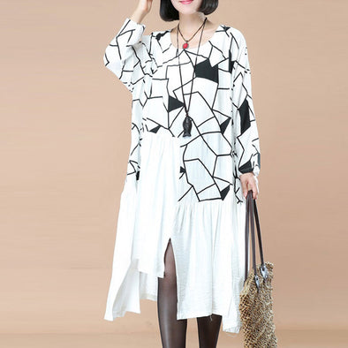 Fashionable Women Irregular Lattice Pleated Shoulder Sleeves White Dress - Buykud