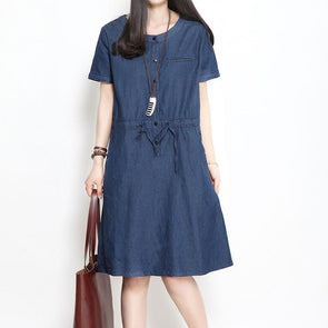 Women Summer V Neck Lacing Denim Dress - Buykud