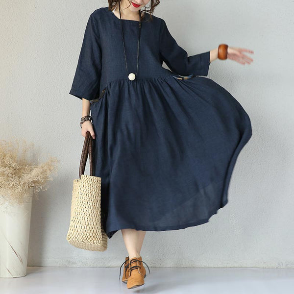 Women Loose Round Neck Blue Linen Dress