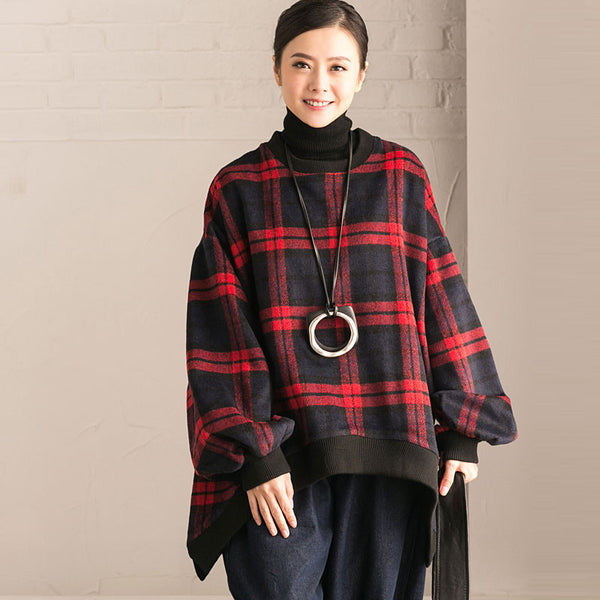 Red Plaid Loose Sweater