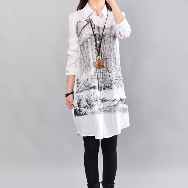 Casual Women Loose Cotton White Straight Shirt