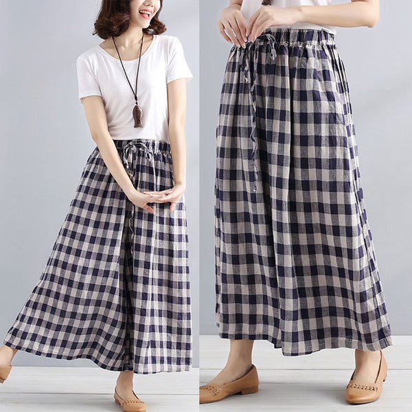 Women Lattice Lacing Pockets Retro Casual Loose Wide Leg Pants - Buykud