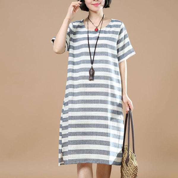 Summer Women Casual Stripe Short Sleeves Gray Dress - Buykud