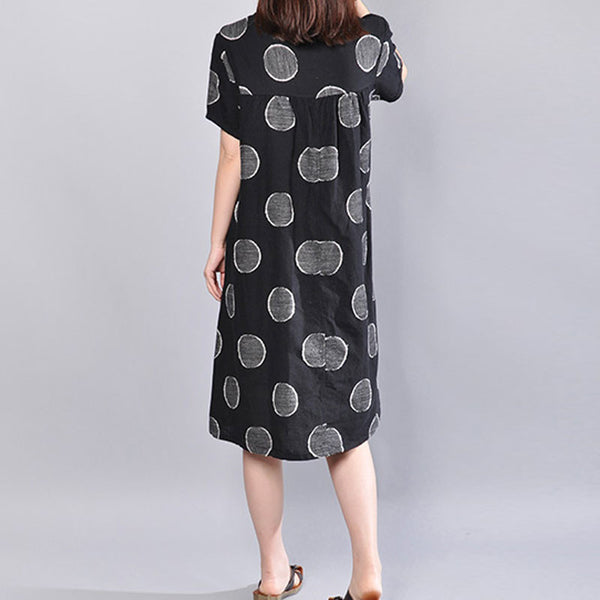 Casual Dot Pocket Short Sleeves Women Black Dress