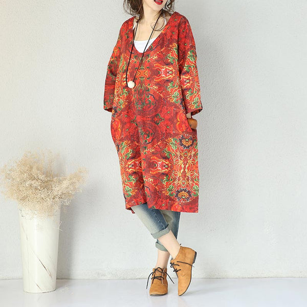 Retro V Neck Abstract Printing Loose Red Dress