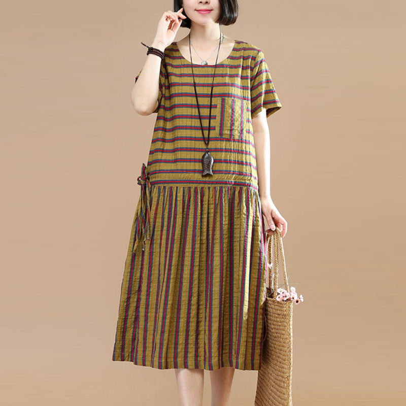 Summer Stripe String Short Sleeves Casual Yellow Dress - Buykud