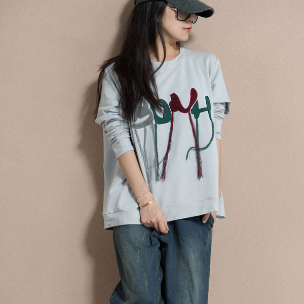 Spring Cotton Embroidered Round Neck T Shirt