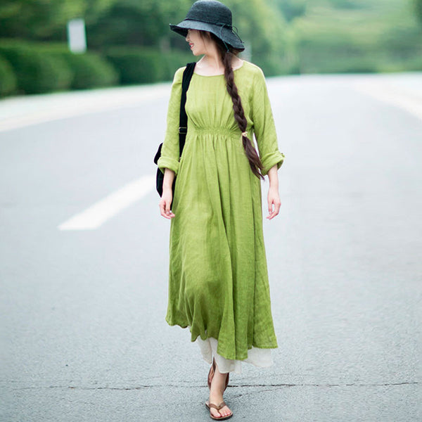 Casual Women Loose Summer Round Neck Shoulder Sleeve Light Green Cotton Dress - Buykud