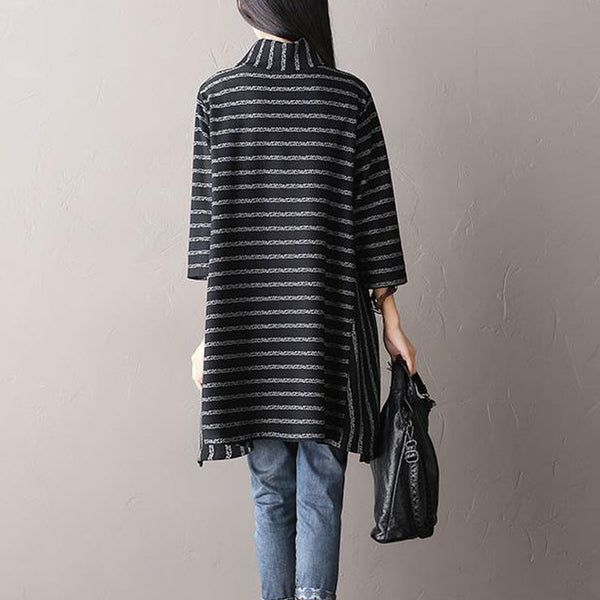 Thickened Irregular Stripes Stretch Knit Tops