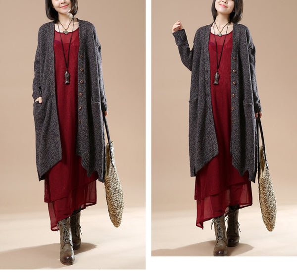 Autumn Women's Long Sleeve Retro Casual Sweater Cardigan Jacket Dark Gray