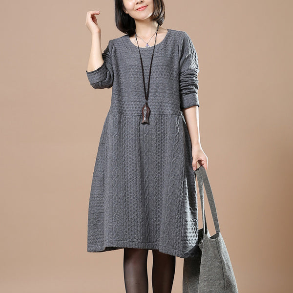 Women Casual Loose Autumn Long Sleeve Dress - Buykud