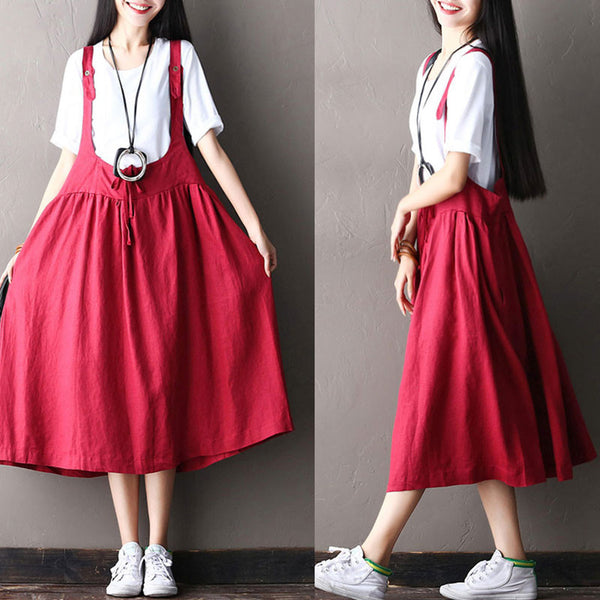 Women Cotton Linen Splicing Button Red Suspender Skirt - Buykud