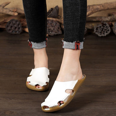Summer Women Portable Leather White Flat Sandals - Buykud