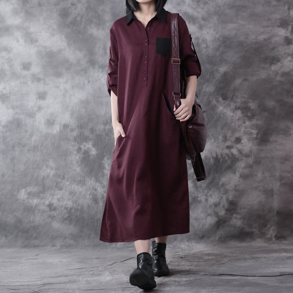 Linen Long Sleeves Lattice Red Dress