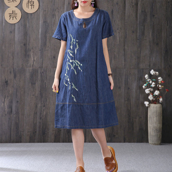 Summer Embroidery Cotton Women Loose Short Sleeves Blue Dress - Buykud