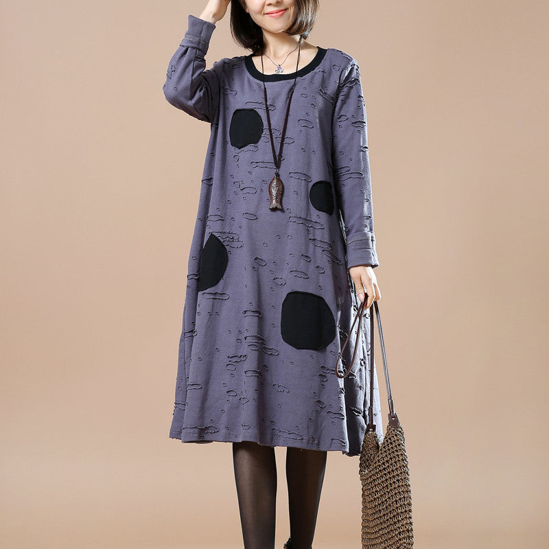Gray Women casual loose spring and winter long sleeve dress