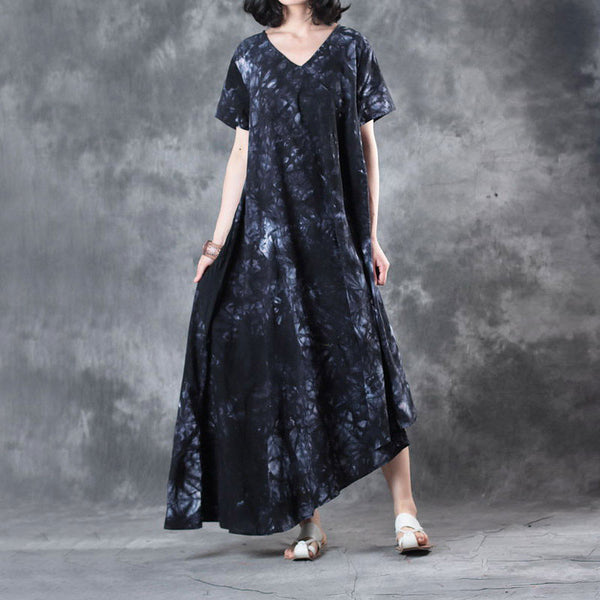 Retro Printing Loose Women Cotton Irregular Splicing Black Dress