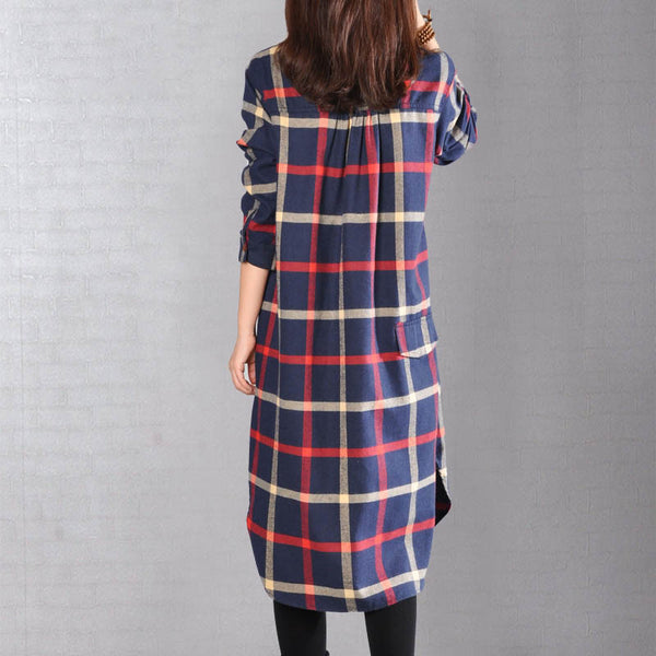 Women Casual Loose Autumn Long Sleeve Shirt Dress