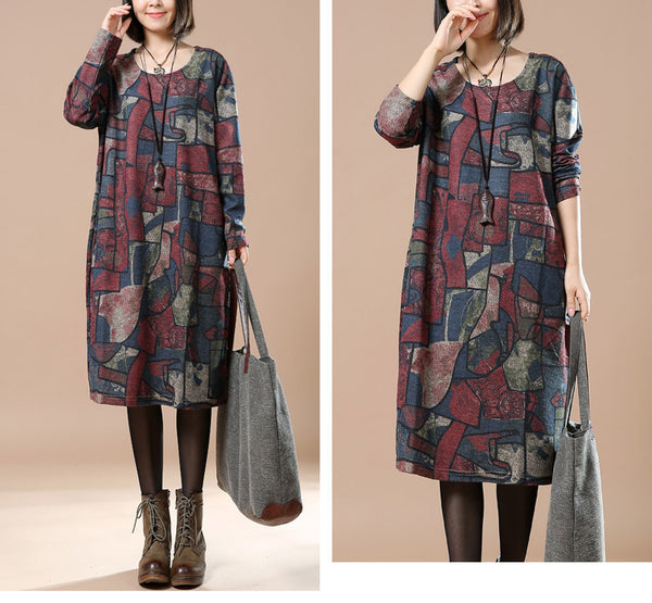 Print Cotton Loose Autumn Dress