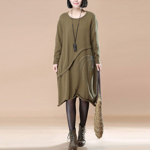 Graceful Embroidered Women Autumn Long Sleeve Knitted Green Sweater Dress - Buykud
