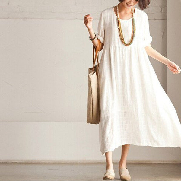 Women White Long Summer Dress - Buykud