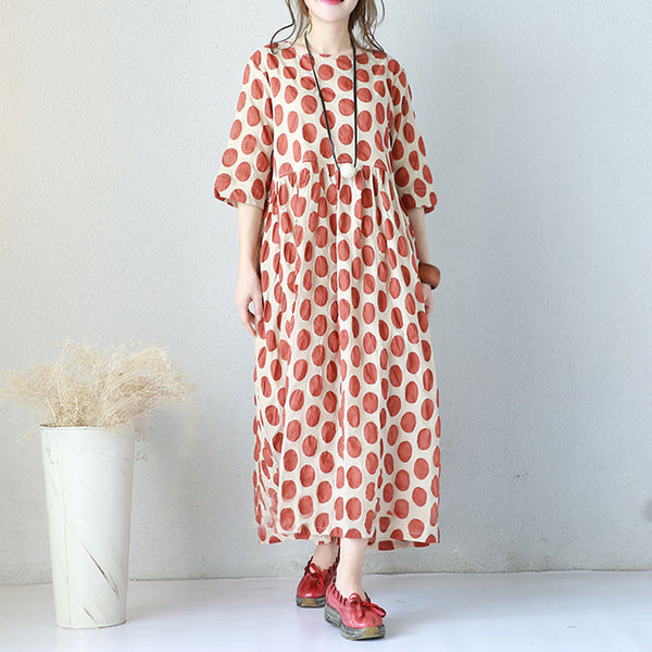 Summer Splicing Dot Cotton Women Loose Coffee Short Sleeves Dress - Buykud