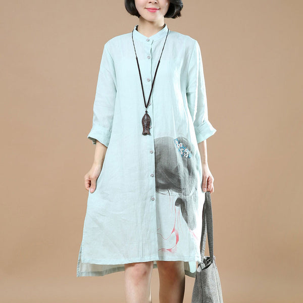 Printing Women Linen Loose Straight Casual Shirt Dress