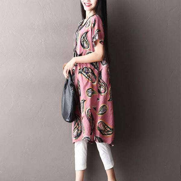 Women Loose Ethnic Button Splicing Pocket Cotton Pink Dress