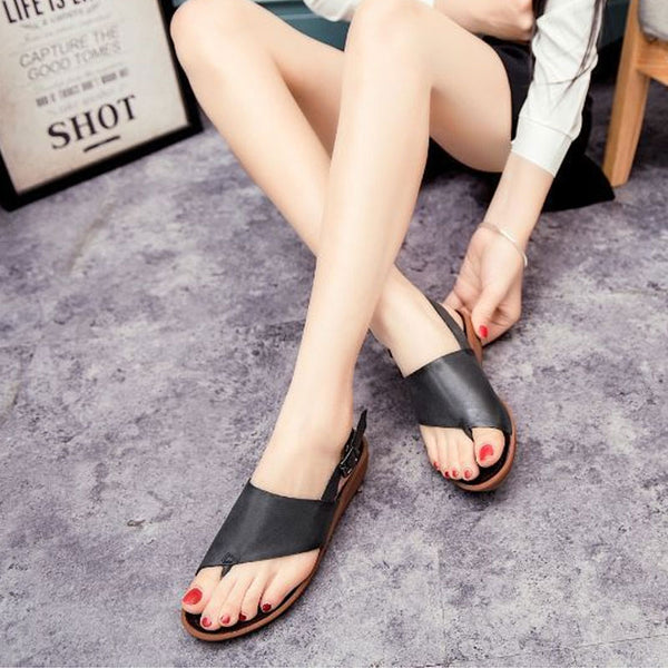 Women Casual Summer Sandals Black Soft-soled Shoes
