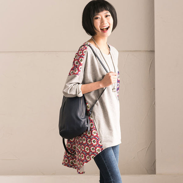 Spring Loose Splicing Floral Cotton Shirt
