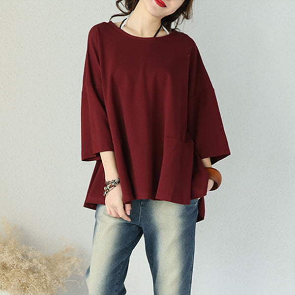Cotton Round Neck Loose Casual Red Shirt