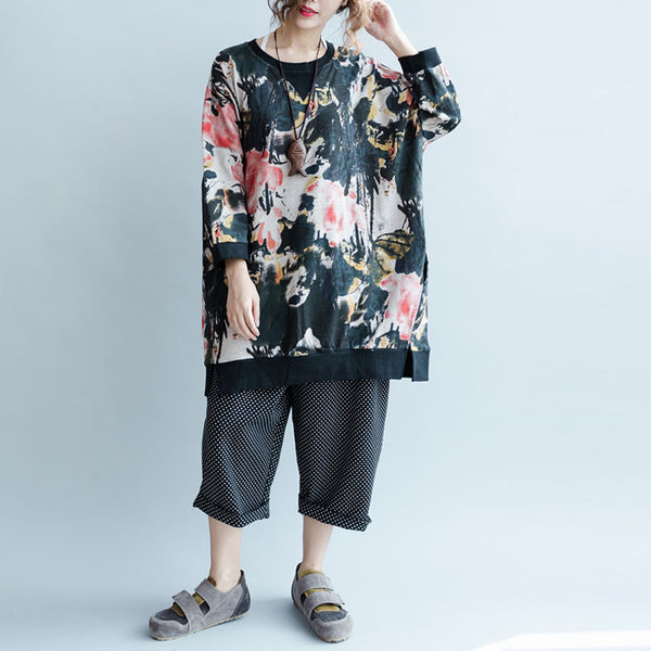 Autumn Casual Loose Cotton Round Neck Blouse