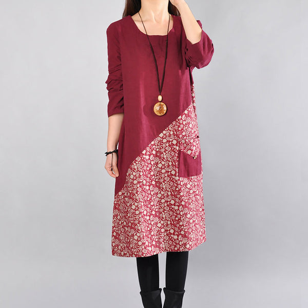 Cotton Round Neck Printing Women Wine Red Dress