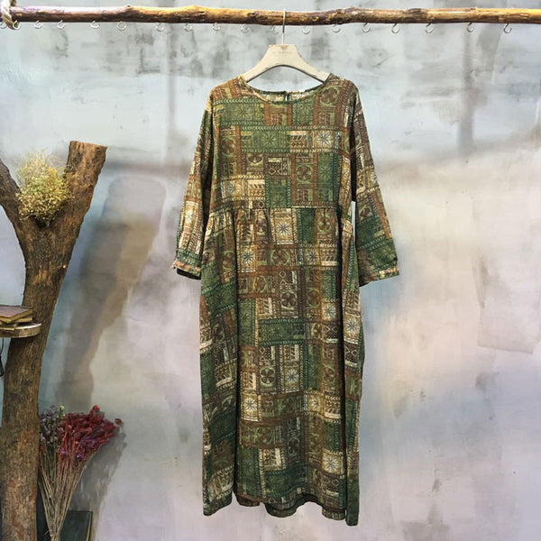 Printing Round Neck Loose Casual Green Dress