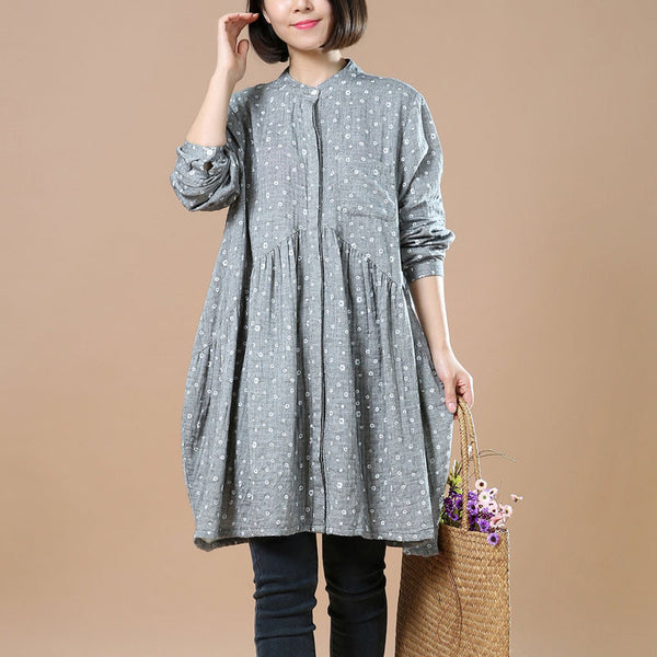 Casual Floral Gray Spring Women Dress