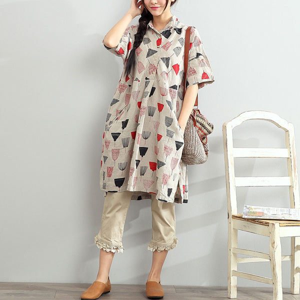 Women Printing POLO Collar Linen Loose Shirts Dress