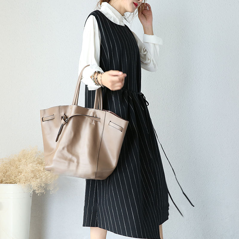 Large Size Round Neck Sleeveless Women Stripe Lacing Dress - Buykud