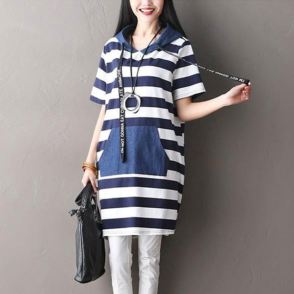 Hooded Pocket Women Blue Stripe Dress - Buykud