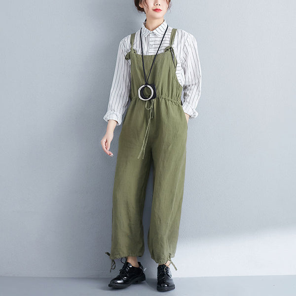 Casual Women Lacing Cotton Linen Green Jumpsuit - Buykud