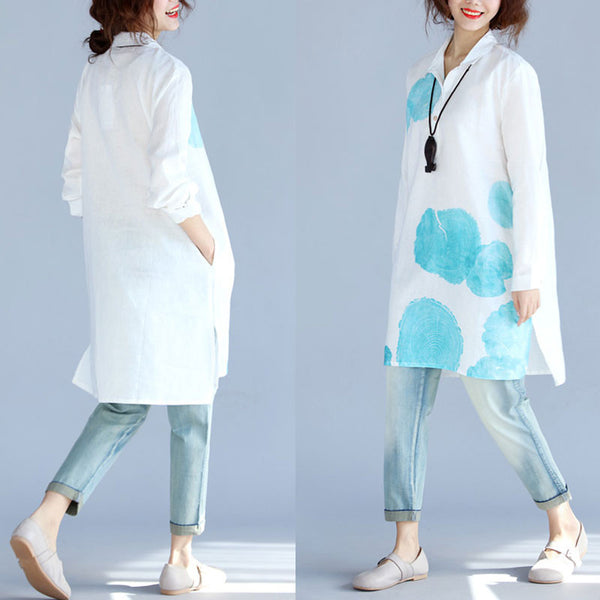 Irregular Women Printing Linen Pocket Loose Blue Shirt