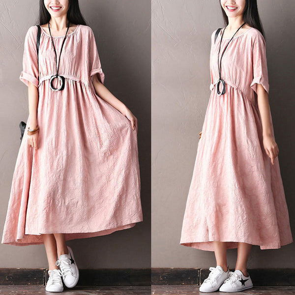 Spring Women Casual Literature Slim Pink Dress