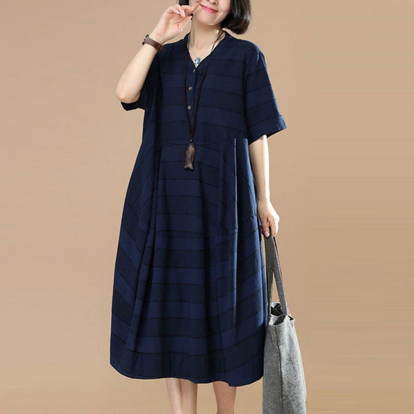 Women Casual Stripe Splicing Button Cotton Navy Blue Dress