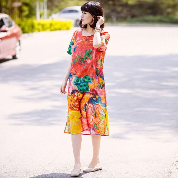 Printing Loose Splitting Women Casual Linen Colorful Red Dress