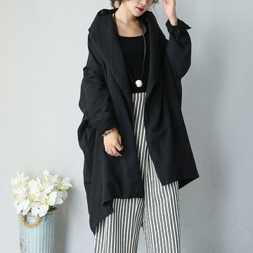 Women Autumn Literature Loose Shoulder Sleeves Black Coat - Buykud