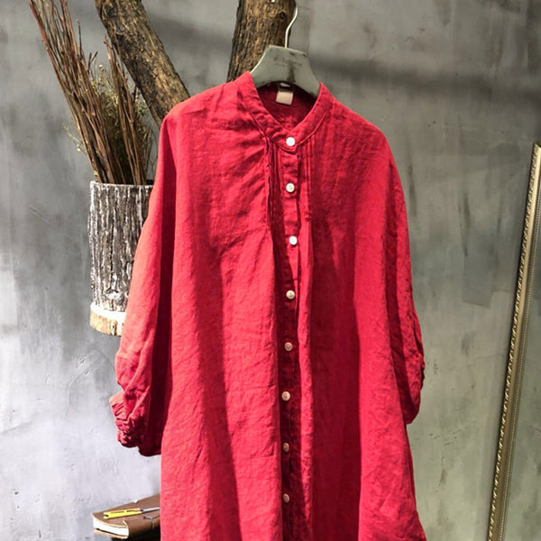 Spring Plus Size Stand Collar Single Breasted Red Shirt - Buykud